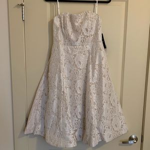 Lulu's Give it a Twirl White Lace Strapless Midi